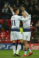 Son Heung-Min and Erik Lamela of Tottenham Hotspur celebrate the victory after Tottenham Hotspur vs Borussia Dortmund, UEFA Champions League Football at Wembley Stadium on 13th February 2019
