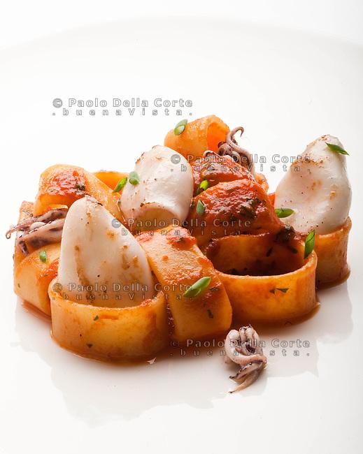 Venezia - Ristorante Vecio fritolin, chef Daniele Zennaro. CalamarataTypical pasta with squid