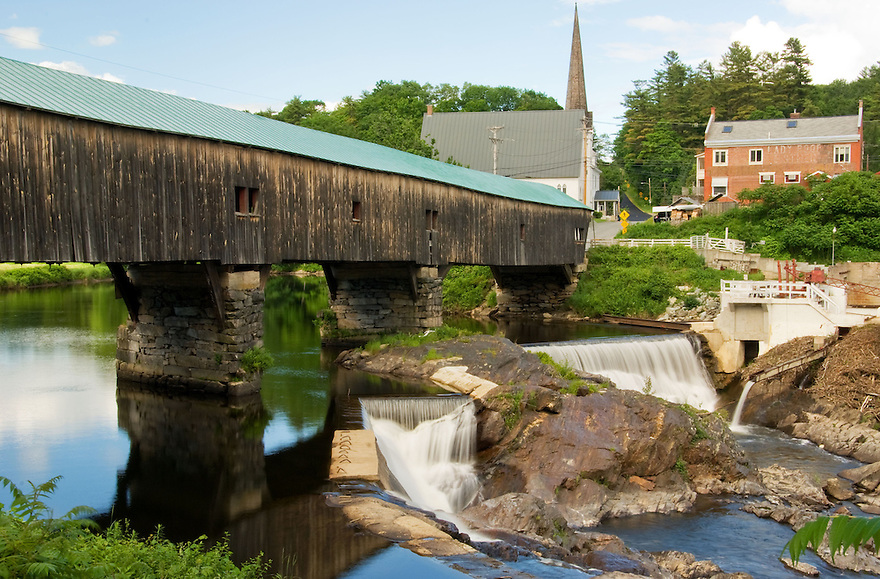 The Bath Covered Bridge, one of the longest, spans the Connecticut River in northern New Hampshire.