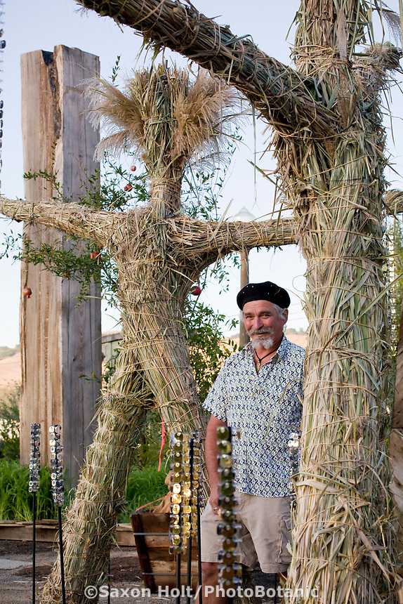 "The artist known as Simple with ""Grass Men"" recycled grass sculpture at The Late Show Gardens, Cornerstone, Sonoma"