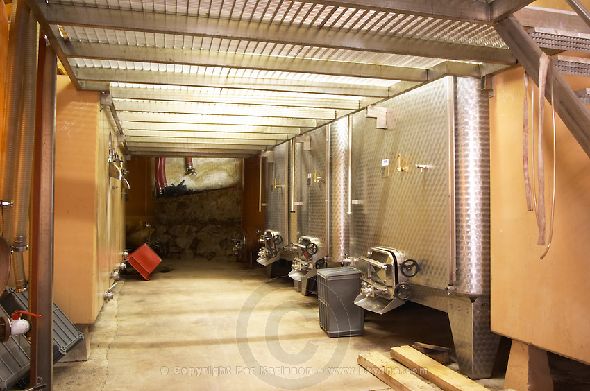 The winery with stainless steel and painted steel vats.  Domaine du Colombier, Crozes-Hermitage, Mercurol, Drome Drôme, France Europe