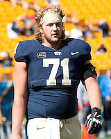 Pitt offensive lineman Gabe Roberts. The Pitt Panthers defeated the New Mexico Lobos 49-27 on Saturday, September 14, 2013 at Heinz Field, Pittsburgh, Pennsylvania.