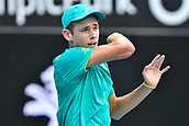 10th January 2018, Sydney Olympic Park Tennis Centre, Sydney, Australia; Sydney International Tennis, round 2; Alex De Minaur (AUS) in his match against Damir Dzumhur (BIH)