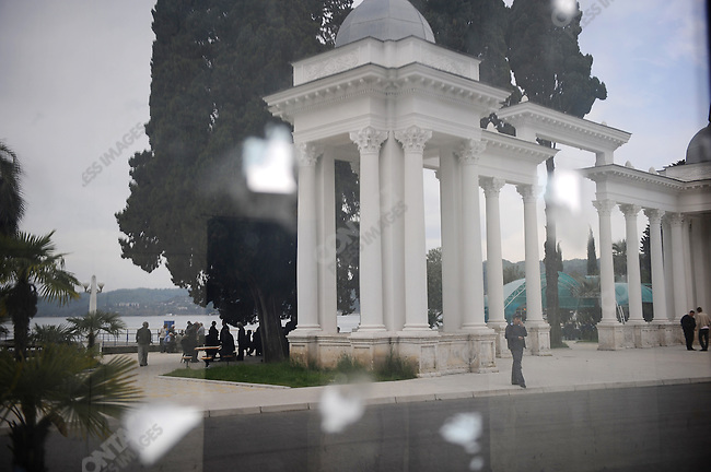 Part of the promenade along the seafront, next to a recently restored hotel. A colonnade was reflected in the new windows of a shop under refurbishment in Sukhumi, the capitol of Abkhazia, April 28, 2009