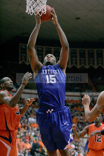 Freshman forward DeMarcus Cousins goes up for a dunk during the second half of the game against Auburn at Beard-Eaves-Memorial Coliseum in Auburn, Ala. on Saturday. The Cats defeated the Tigers 72-67. Photo by Zach Brake | Staff