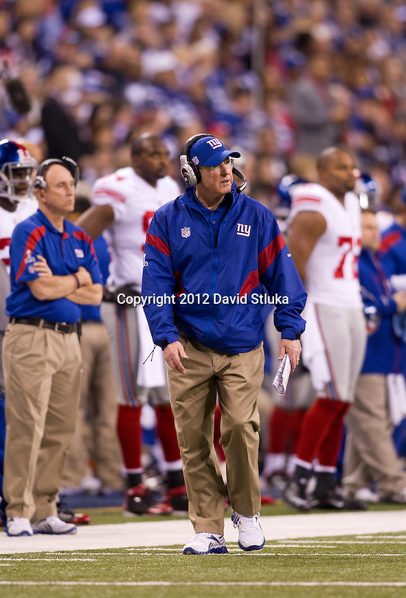 New York Giants Head Coach Tom Coughlin looks on during the NFL Super Bowl XLVI football game against the New England Patriots on Sunday, Feb. 5, 2012, in Indianapolis. The Giants won 21-17 (AP Photo/David Stluka)...