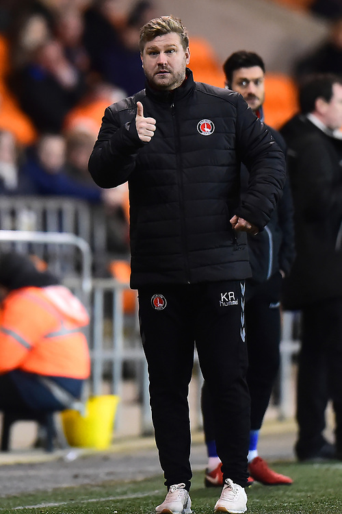 Charlton Athletic manager Karl Robinson gestures<br /> <br /> Photographer Richard Martin-Roberts/CameraSport<br /> <br /> The EFL Sky Bet League One - Blackpool v Charlton Athletic - Tuesday 13th March 2018 - Bloomfield Road - Blackpool<br /> <br /> World Copyright &not;&copy; 2018 CameraSport. All rights reserved. 43 Linden Ave. Countesthorpe. Leicester. England. LE8 5PG - Tel: +44 (0) 116 277 4147 - admin@camerasport.com - www.camerasport.com