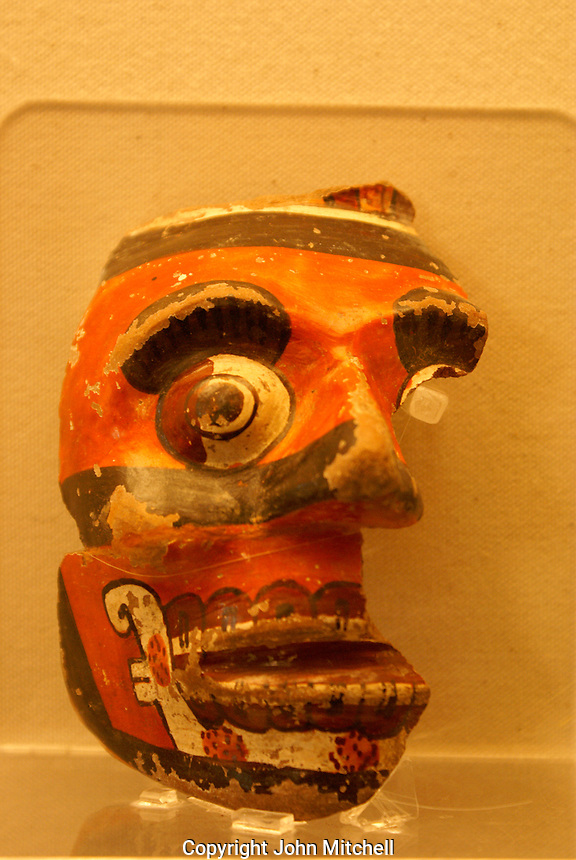 Pre-Hispanic ceramic skull in the archaeological museum in Cholula, Puebla, Mexico. Cholula is a UNESCO World Heritage Site.