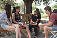 Movindri Reddy, Associate Professor, Diplomacy and World Affairs. Individual faculty advising appointments in the Academic Quad for incoming first-years at the start of Occidental College's Fall Orientation for the class of 2021, Aug. 25, 2017.<br /> (Photo by Marc Campos, Occidental College Photographer)