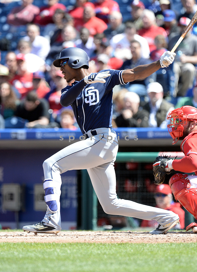 San Diego Padres Melvin Upton Jr. (2) during a game against the Philadelphia Phillies on April 14, 2016 at Citizens Bank Park in Philadelphia, PA. The Phillies beat the Padres 3-0.