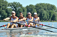 Poznan, POLAND,   USA M4-, bow, Cameron WINKLEVOSS, Steve COPPOLA, Guiseppe LANZONE and Brett NEWLIN, competing in the heats of the men's four, on the first day of the, 2009 FISA World Rowing Championships. held on the Malta Rowing lake, Sunday 23/08/2009 [Mandatory Credit. Peter Spurrier/Intersport Images]
