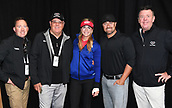 29th September 2017, Windross Farm, Auckland, New Zealand; LPGA McKayson NZ Womens Open, second;  USA's Paula Creamer poses for a photo with her husband, Tim Watts and Michael Glading from the Clubhouse and Greg Turner