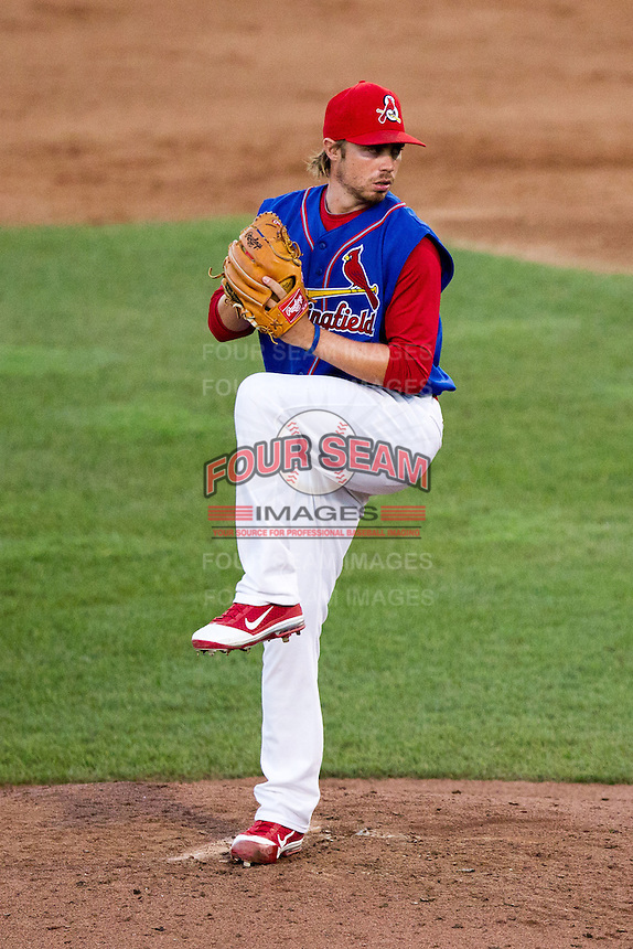Scott Schneider (29) of the Springfield Cardinals winds up during a game against the Corpus Christi Hooks at Hammons Field on August 13, 2011 in Springfield, Missouri. Springfield defeated Corpus Christi 8-7. (David Welker / Four Seam Images)
