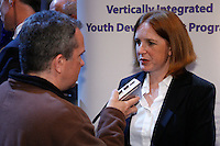 WPS Commissioner Tonya Antonucci is interviewed after the signing ceremony for the WPS Philadelphia Independence at the Franklin Institute in Philadelphia, PA, on May 18, 2009.