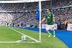 10.09.2017, Olympiastadion, Berlin, GER, 1.FBL, Hertha BSC vs SV Werder Bremen<br /> <br /> im Bild<br /> Max Kruse (Werder Bremen #10) tritt zum Eckstoss an, <br /> <br /> Foto &copy; nordphoto / Ewert