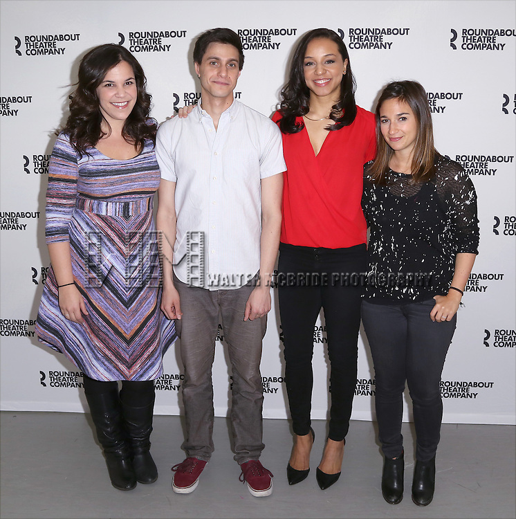 Lindsay Mendez, Gideon Glick, Carra Patterson and Sas Goldberg attend the cast photo call for 'Significant Other' at the Roundabout Theatre rehearsal hall on April 24, 2015 in New York City.