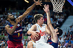 Real Madrid's player Luka Doncic and Barcelona's player Lawal and Abrines during Liga Endesa 2015/2016 Finals 3rd leg match at Barclaycard Center in Madrid. June 20, 2016. (ALTERPHOTOS/BorjaB.Hojas)
