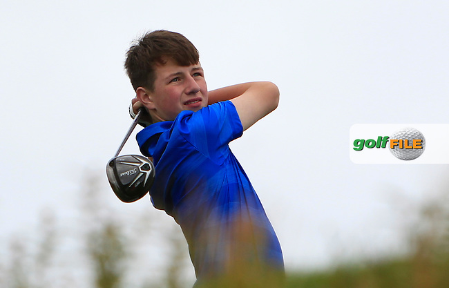 Brian Fehily Jnr (Newlands) on the 18th tee during R1 of the 2016 Connacht U18 Boys Open, played at Galway Golf Club, Galway, Galway, Ireland. 05/07/2016. <br /> Picture: Thos Caffrey | Golffile<br /> <br /> All photos usage must carry mandatory copyright credit   (&copy; Golffile | Thos Caffrey)