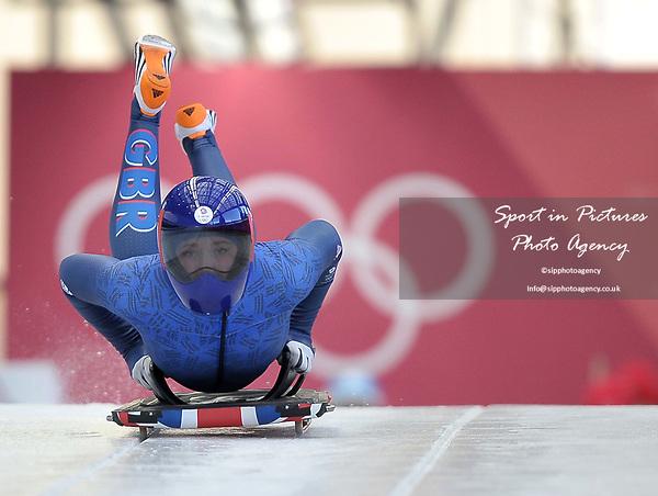Lizzy Yarnold (GBR). Womens Skeleton training. Pyeongchang2018 winter Olympics. Olympic sliding centre. Alpensia. Pyeongchang. Republic of Korea. 07/02/2018. ~ MANDATORY CREDIT Garry Bowden/SIPPA - NO UNAUTHORISED USE - +44 7837 394578