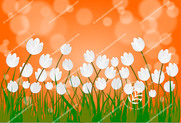 Vector background with Indian flag colors themed landscape - orange sky, white Tulips and green grass.<br /> <br /> Suitable for projects related to Indian Republic Day (26th January), Indian Independence Day (15th August) or other patriotic themes.<br /> <br /> This image is also available as EPS Vector and PNG format.