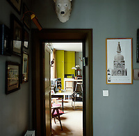 A view into the study/home office in a small Parisian apartment