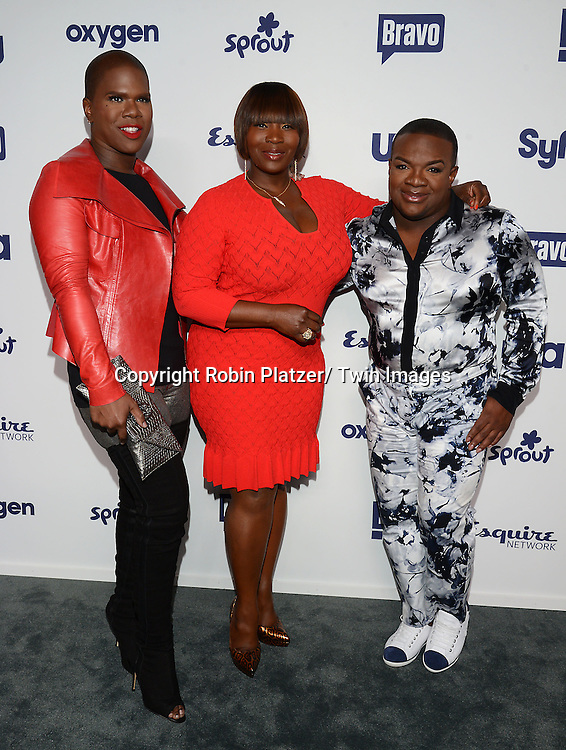 Lawrence Washington, Bevy Smith and Derek Johnson  attend the NBCUniversal Cable Entertainment Upfront <br /> on May 15, 2014 at The Javits Center North Hall in New York City, New York, USA.