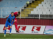 27th March 2018, Karadjorde Stadium, Novi Sad, Serbia; Under 21 International Football Friendly, Serbia U21 versus Italy U21; Forward Simone Palombi of Italy is beaten to the header against Uros Racic of Serbia