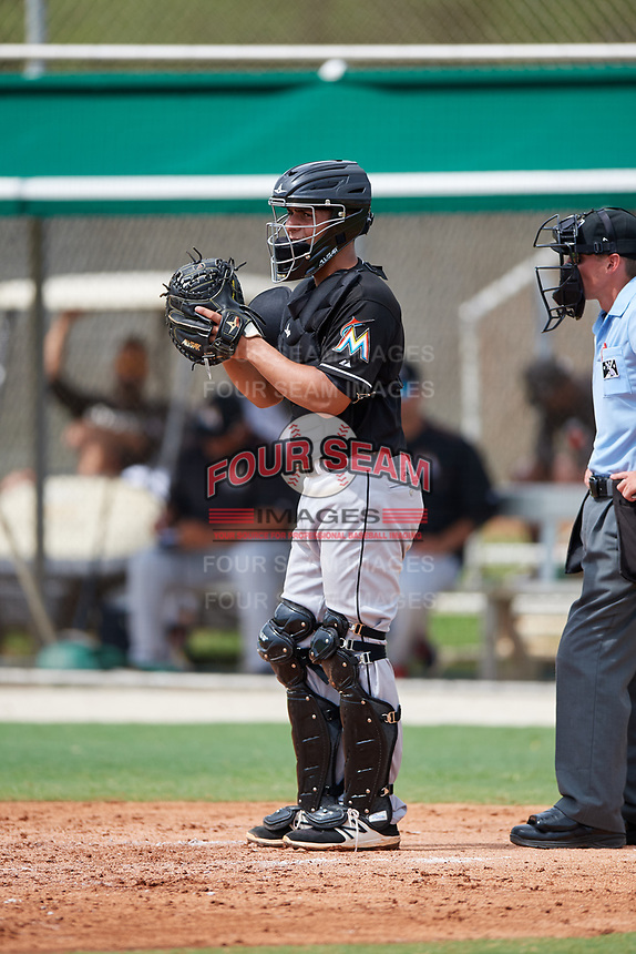 GCL Marlins catcher Jan Mercado (10) during a game against the GCL Astros on July 22, 2017 at Roger Dean Stadium Complex in Jupiter, Florida.  GCL Astros defeated the GCL Marlins 5-1, the game was called in the seventh inning due to rain.  (Mike Janes/Four Seam Images)