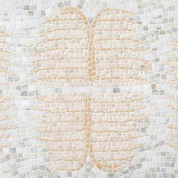 Wings, a hand-chopped stone mosaic, shown in tumbled Calacatta Gold, Sylvia Gold, and Travertine White. Designed by Joni Vanderslice as part of the J. Banks Collection for New Ravenna.