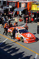 14 February, 2010, Daytona Beach, Florida USA USA.Joey Lagano's Toyota Camry is pushed through the garage area to the grid..©F. Peirce Williams 2010 USA.