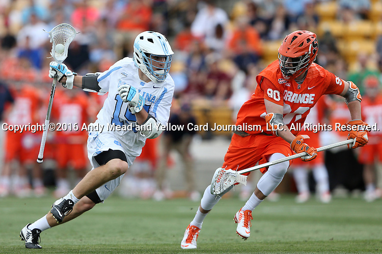 29 April 2016: North Carolina's Timmy Kelly (15) and Syracuse's Matt Lane (90). The University of North Carolina Tar Heels played the Syracuse University Orange at Fifth Third Bank Stadium in Kennesaw, Georgia in a 2016 Atlantic Coast Conference Men's Lacrosse Tournament semifinal match.