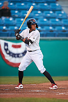 Visalia Rawhide designated hitter Yan Sanchez (2) during a California League game against the San Jose Giants on April 12, 2019 at San Jose Municipal Stadium in San Jose, California. Visalia defeated San Jose 6-2. (Zachary Lucy/Four Seam Images)
