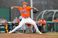 Pitcher David Haselden (29) of the Clemson Tigers pitches in a game against the Eastern Michigan Eagles on Friday, Feb. 18, 2011, at Doug Kingsmore Stadium in Clemson, S.C.  Photo by: Tom Priddy/Four Seam Images