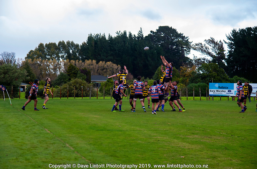 Action from the 2019 Manawatu Senior 2 club rugby union match between Feilding Old Boys Oroua and Feilding Yellows at Kimbolton Domain in Kimbolton, New Zealand on Saturday, 1 June 2019. Photo: Dave Lintott / lintottphoto.co.nz