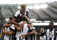 Calcio, Serie A: Lazio vs Juventus. Roma, stadio Olimpico, 27 agosto 2016.<br /> Juventus&rsquo; Sami Khedira, center, back to camera, celebrates with teammates after scoring the winning goal during the Serie A soccer match between Lazio and Juventus, at Rome's Olympic stadium, 27 August 2016. Juventus won 1-0.<br /> UPDATE IMAGES PRESS/Isabella Bonotto