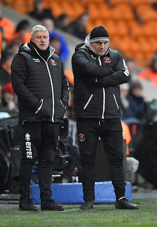 Blackpool's Manager Terry McPhillips looks on worriedly<br /> <br /> Photographer Dave Howarth/CameraSport<br /> <br /> The Emirates FA Cup Second Round Replay - Blackpool v Solihull Moors - Tuesday 18th December 2018 - Bloomfield Road - Blackpool<br />  <br /> World Copyright © 2018 CameraSport. All rights reserved. 43 Linden Ave. Countesthorpe. Leicester. England. LE8 5PG - Tel: +44 (0) 116 277 4147 - admin@camerasport.com - www.camerasport.com