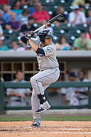 Giovanny Urshela (41) of the Columbus Clippers at bat against the Charlotte Knights at BB&T BallPark on May 27, 2015 in Charlotte, North Carolina.  The Clippers defeated the Knights 9-3.  (Brian Westerholt/Four Seam Images)
