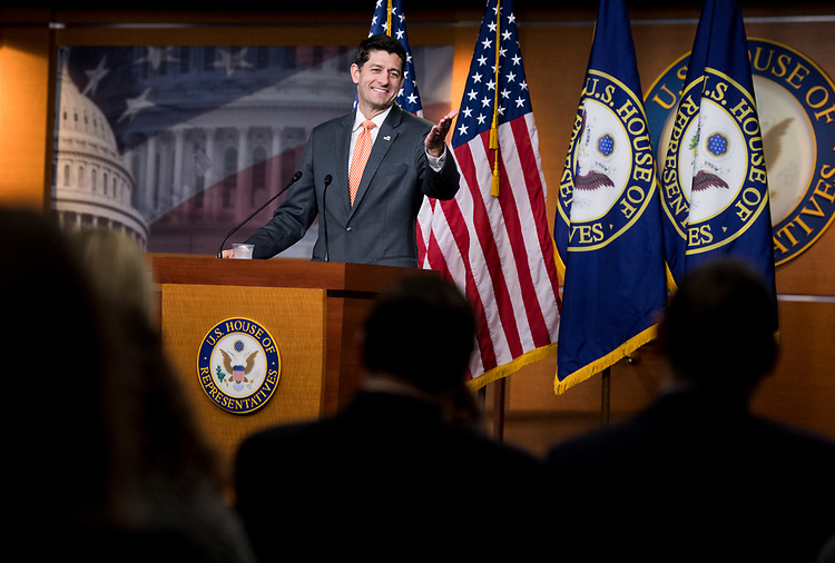 UNITED STATES - JULY 12: Speaker of the House Paul Ryan, R-Wisc., holds his weekly press conference in the Capitol on Thursday, July 12, 2018. (Photo By Bill Clark/CQ Roll Call)