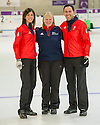 The mens and womens Team GB Winter Olympic Curling Teams 2014 David Murdoch and Eve Muirhead with Head woman's coach Rhona Howie (centre).