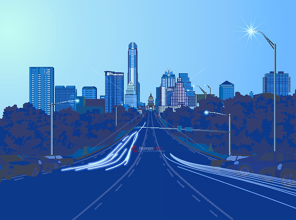 Downtown Austin, Texas Skyline from South Congress Avenue (Soco) illustration graphic.