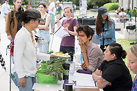 Six teams battle in Oxy's Own Iron Chef competition, part of Earth Month. Their task is creating the best vegetarian or vegan starter and sauté dishes. A wide variety of fresh organic produce (some freshly picked at the FEAST garden), legumes, FEAST eggs, spices, oils AND one secret ingredient will be at the team's disposal. The top teams will be awarded a restaurant gift certificate, cookbooks, a FEAST basket and other culinary goodies. Thursday, April 13 at the JSC Quad.<br /> (Photo by Marc Campos, Occidental College Photographer)