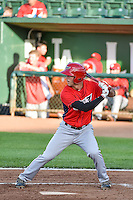 Michael Pierson (2) of the Orem Owlz at bat against the Ogden Raptors in Pioneer League action at Lindquist Field on June 18, 2015 in Ogden, Utah. This was Opening Night play of the 2015 Pioneer League season.  (Stephen Smith/Four Seam Images)
