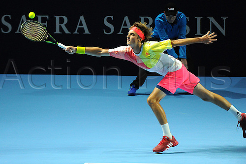 23.10.2016.  St. Jakobshalle, Basel, Switzerland. Basel Swiss Indoors Tennis Championships. Qualifying Day 2. Stefanos Tsitsipas in action in the match between Stefanos Tsitsipas of Greece and Robin Haase of the Netherlands