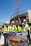 MGM and AEG Topping off of the Las Vegas Arena, with construction workers traditional  of flying of the final beam signed by all the construction workers and dignitaries for good luck