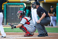 Matt Pagnozzi (10) of the Nashville Sounds behind the plate with home plate umpire Spencer Flynn in action against the Salt Lake Bees at Smith's Ballpark on June 23, 2014 in Salt Lake City, Utah.  (Stephen Smith/Four Seam Images)