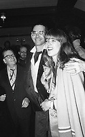 Earl Wilson (gossip columnist for NY Post) Anthony Perkins and wife Mary Berenson