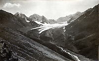 August 20, 1919, 10:00 AM, Glacier at head of East Fork Teklanika River in Denali National Park, Alaska by U.S. Geological Survey Geologist Steven Reid Capps.  Capps image 929.