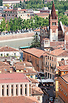 View of Verona, Italy from the Lamberti Tower with a view of the 11th century church, Chiesa di San Fermo.