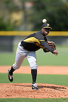 Pittsburgh Pirates pitcher Mister Luciano (77) during an Instructional League game against the Tampa Bay Rays on September 27, 2014 at the Charlotte Sports Park in Port Charlotte, Florida.  (Mike Janes/Four Seam Images)