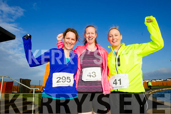 Bridget Moore, Sandra Byrne and Denise Minnock, participants who took part in the Kerry's Eye Valentines Weekend 10 mile road race on Sunday.